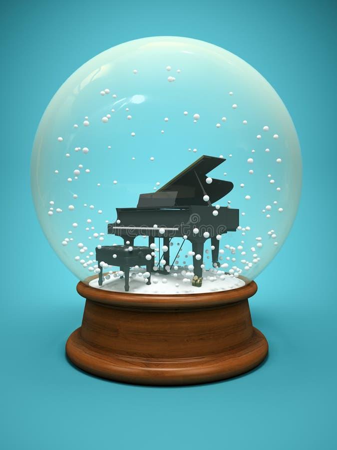 Śnieżna kula ziemska z pianinem na błękitnej tła 3D ilustraci ilustracji