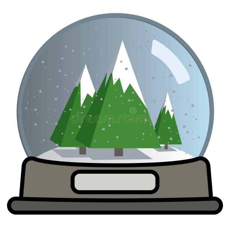 Śnieżna kula ziemska z trzy choinkami ilustracji