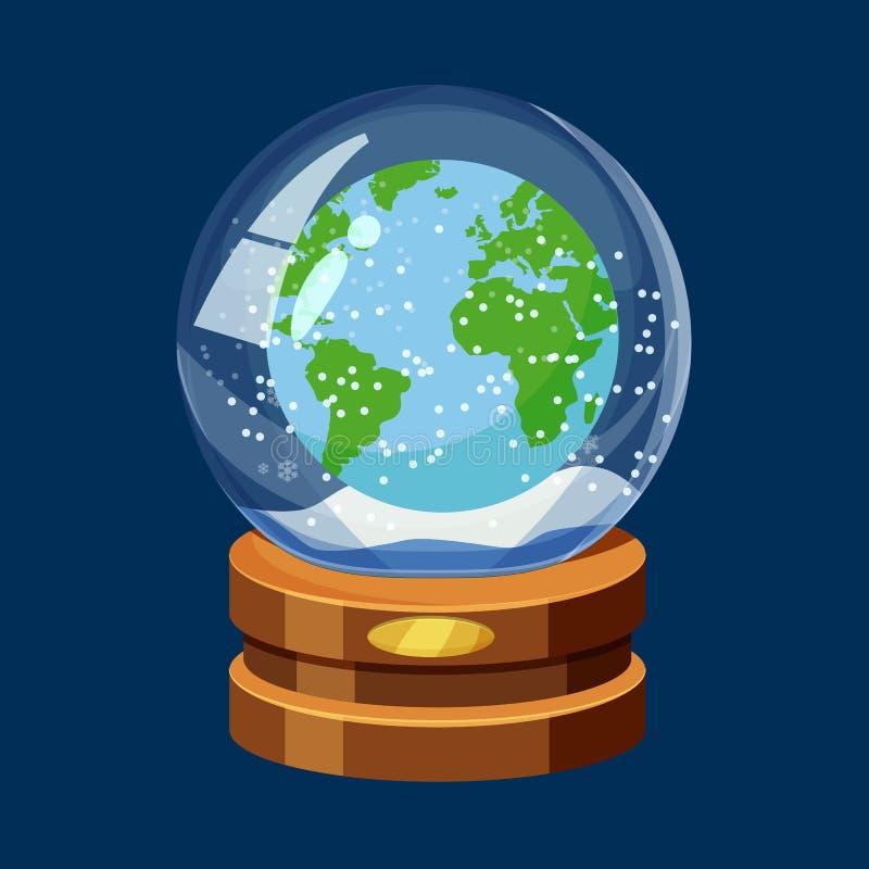 Śnieżna kula ziemska z Ziemską planetą, światowa mapa, śnieg, kreskówka styl, wektor, odizolowywający royalty ilustracja