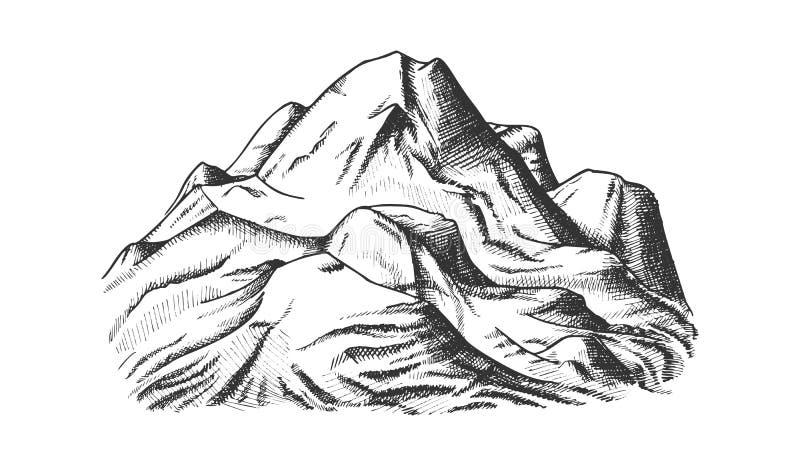 Śnieżna Nakrywkowa ręka Rysujący góra krajobrazu wektor ilustracji