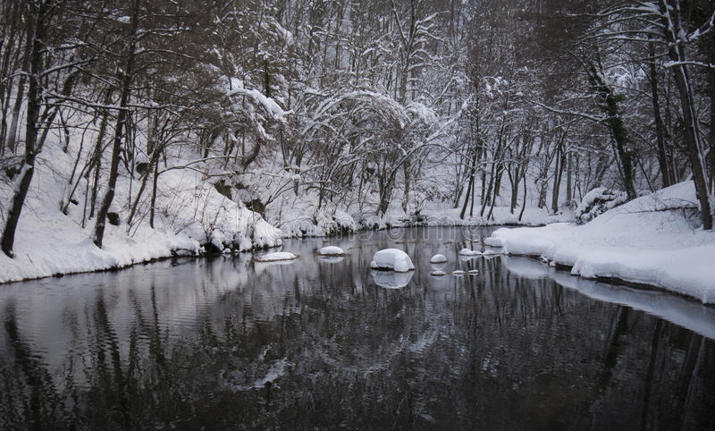 Śnieżna rzeka fotografia stock