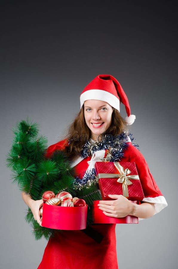 Śnieżna Santa dziewczyna zdjęcie stock