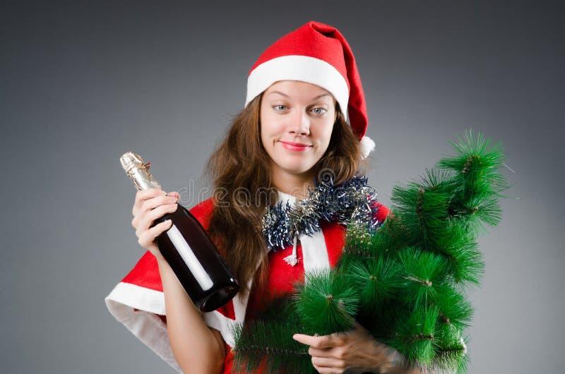Śnieżna Santa dziewczyna w bożych narodzeniach zdjęcia stock