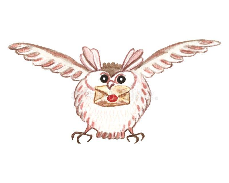 Śnieżna sowa, lata z listem Zima Bożenarodzeniowy ptasi charakter, ręka malował akwareli ilustrację ilustracja wektor