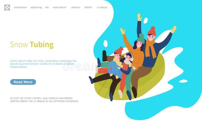 Śnieżna tubing rodzina Iść Zjazdowy na Gumowej sieci ilustracja wektor