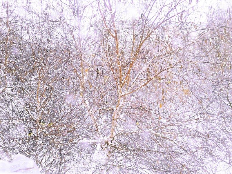 Śnieżna zima na zewnątrz okno Ptaki na drzewie upadek kolei sylwetki ślady śnieżni szkolą niejasnego obraz royalty free