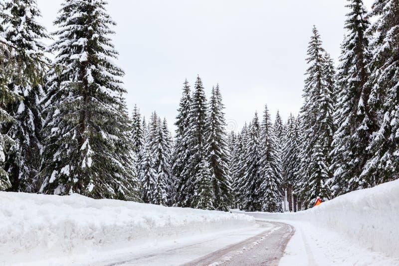 Download Śnieżna zimy droga zdjęcie stock. Obraz złożonej z błękitny - 53789626