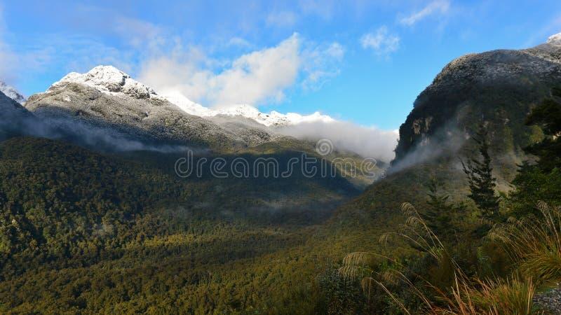 Śnieżne góry jak przeglądać od Wilmot przepustki w Fiordland parku narodowym zdjęcie stock
