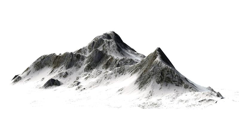 Śnieżne góry odizolowywać na białym tle - Halny szczyt - obraz royalty free