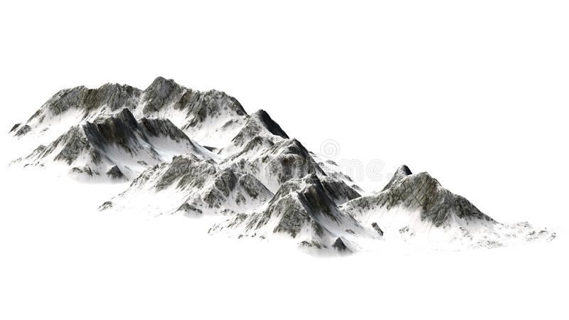 Śnieżne góry odizolowywać na białym tle - Halny szczyt - zdjęcia stock