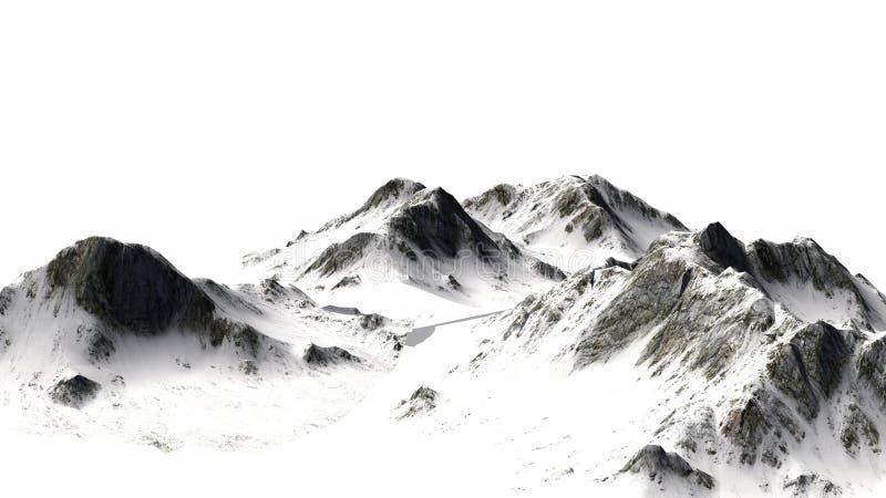 Śnieżne góry odizolowywać na białym tle - Halny szczyt - obrazy royalty free