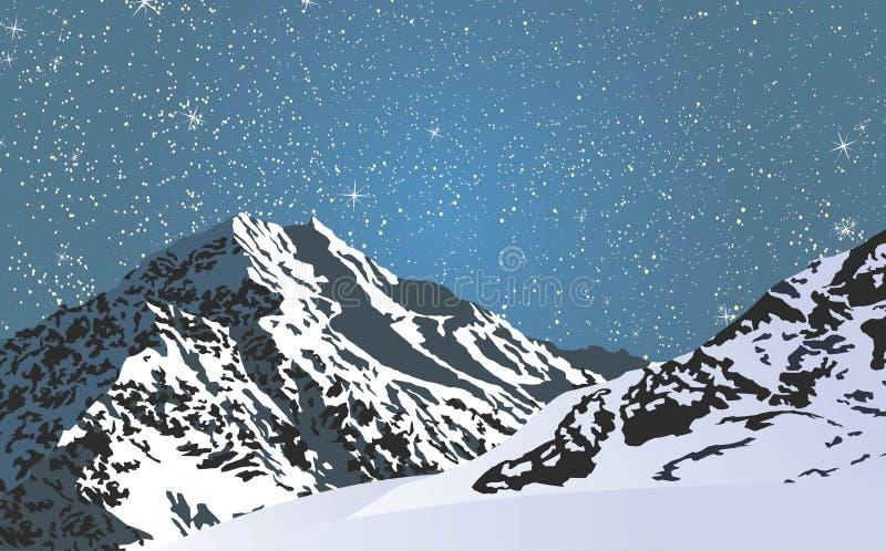 Śnieżne góry w jaskrawej gwiaździstej nocy ilustracja wektor