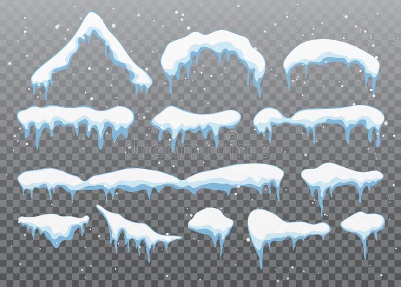 Śnieżne nakrętki, snowballs i snowdrifts ustawiający, Śnieżna nakrętka wektoru kolekcja Zimy dekoraci element Śnieżni elementy na ilustracji