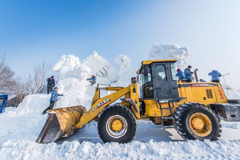 Śnieżne rzeźby przy 27th Harbin Lodowym i Śnieżnym festiwalem w Harbin Chiny fotografia stock