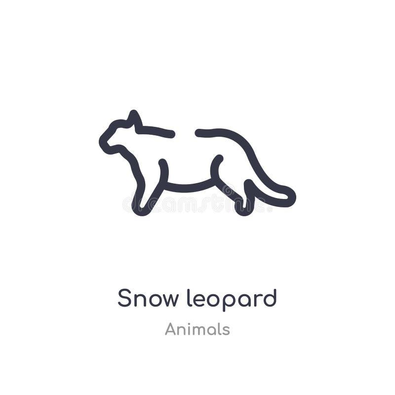 śnieżnego lamparta konturu ikona odosobniona kreskowa wektorowa ilustracja od zwierz?t inkasowych editable cienieje uderzenie śni ilustracji