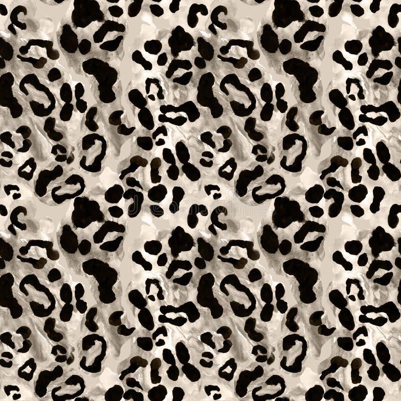 Śnieżnego lamparta lub jaguara żakieta bezszwowy wzór z czarnymi rossetes na szarym brązu tle Egzotyczny dzikie zwierz? sk?ry dru zdjęcie stock