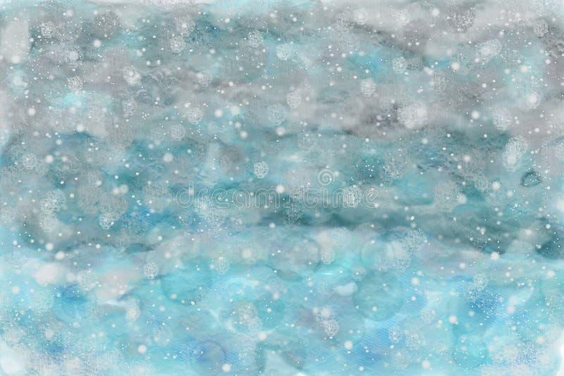 Śnieżnego nieba watercolour abstrakcjonistyczny tło zdjęcia royalty free