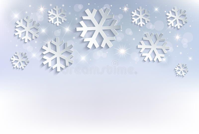 Śnieżnego płatka Bożenarodzeniowego tła błękitne gwiazdy royalty ilustracja