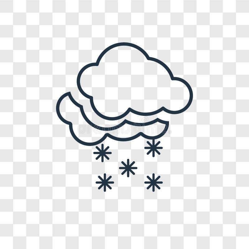 Śnieżnego pojęcia wektorowa liniowa ikona odizolowywająca na przejrzystym backgro royalty ilustracja