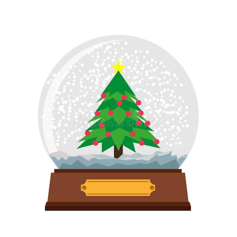 Śnieżnej kuli ziemskiej szklanej piłki Bożenarodzeniowy wektorowy ilustracyjny tło Zimy xmas sfery nowego roku przejrzysty snowba ilustracji