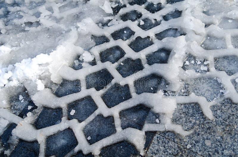 Śnieżnej opony ślad zdjęcia stock