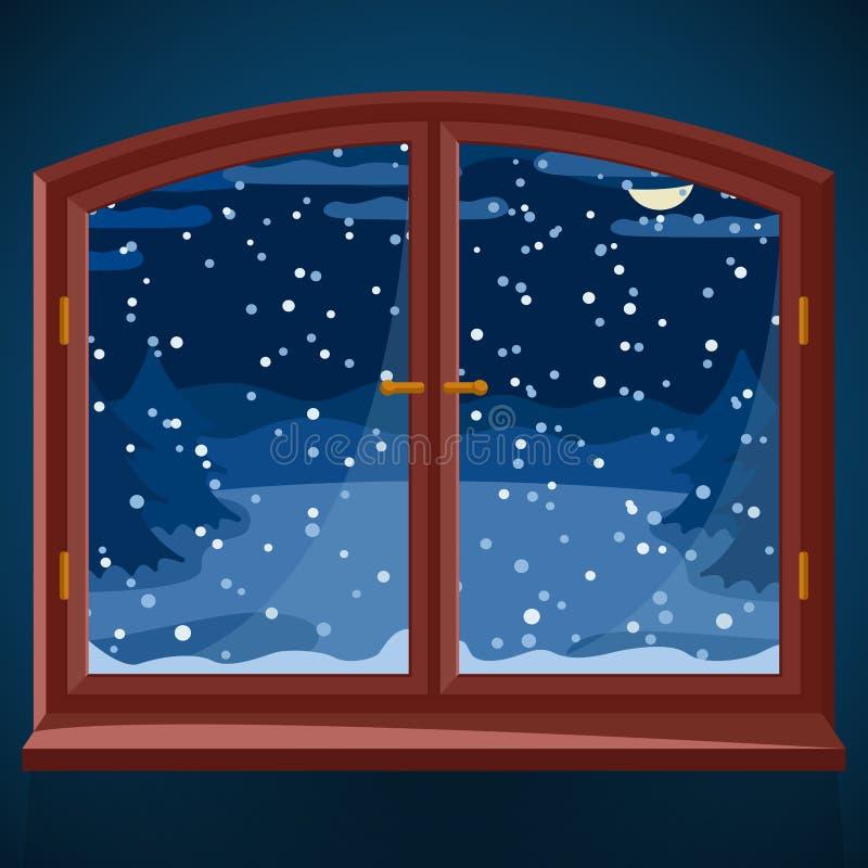 Śnieżnej zimy plenerowy widok w drewnianym okno przy nocą, zima krajobraz z świerkowymi drzewami przez nocy okno royalty ilustracja
