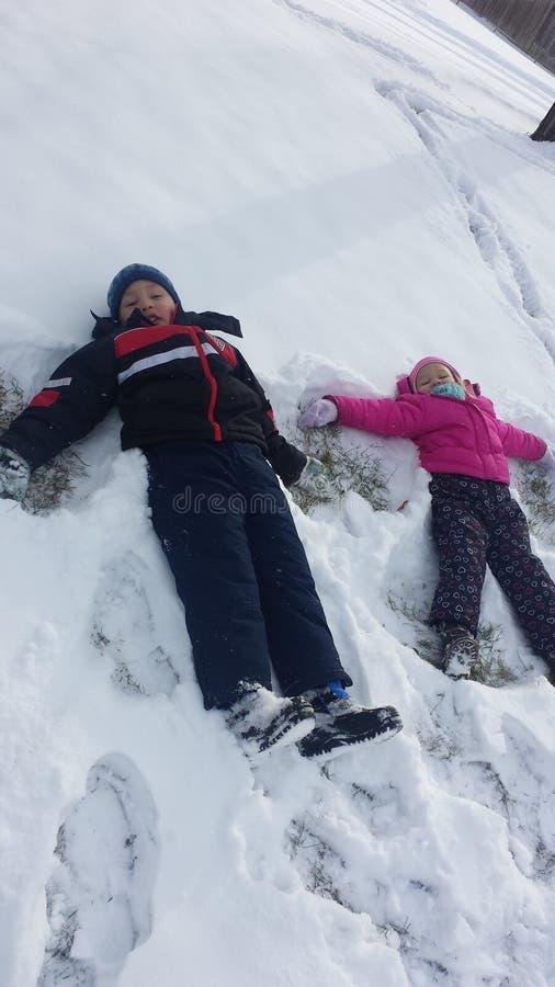 Śnieżni aniołowie fotografia stock