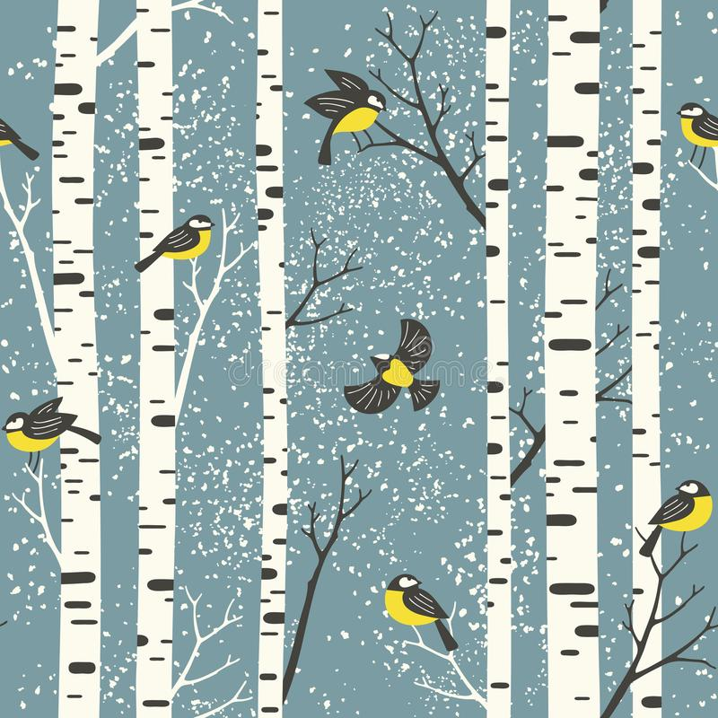Śnieżni brzoz drzewa, ptaki na bławym tle i ilustracja wektor