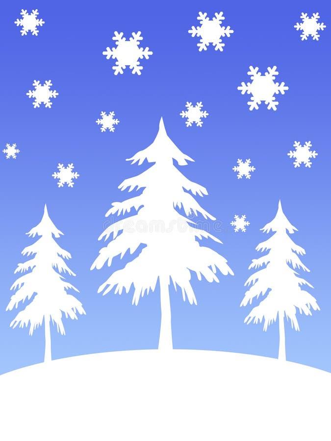śnieżni drzewa ilustracji