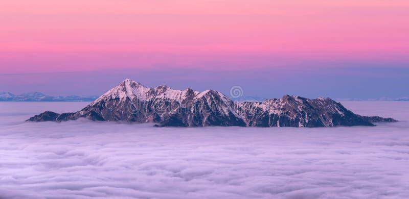Śnieżni góra wierzchołki zakrywający w chmurach z pięknym różowym niebem fotografia stock