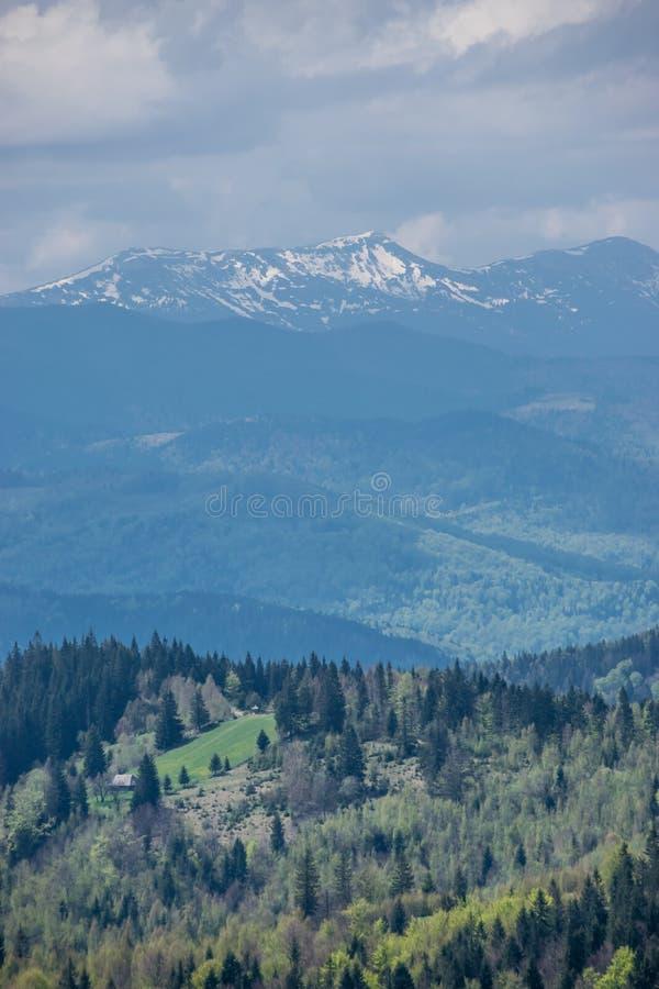 Śnieżni szczyty góry w wiośnie obraz royalty free
