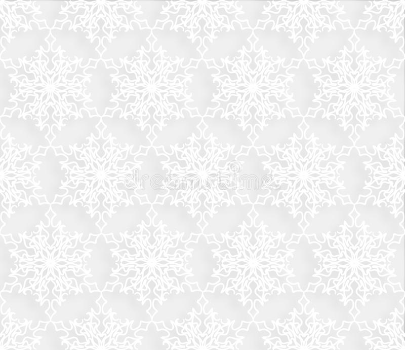 Śnieżny bezszwowy wzór Zima wakacje płatków śniegu koronkowy dachówkowy ornament ilustracja wektor