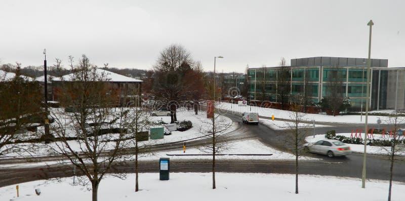 Śnieżny biznesowy park zdjęcia stock