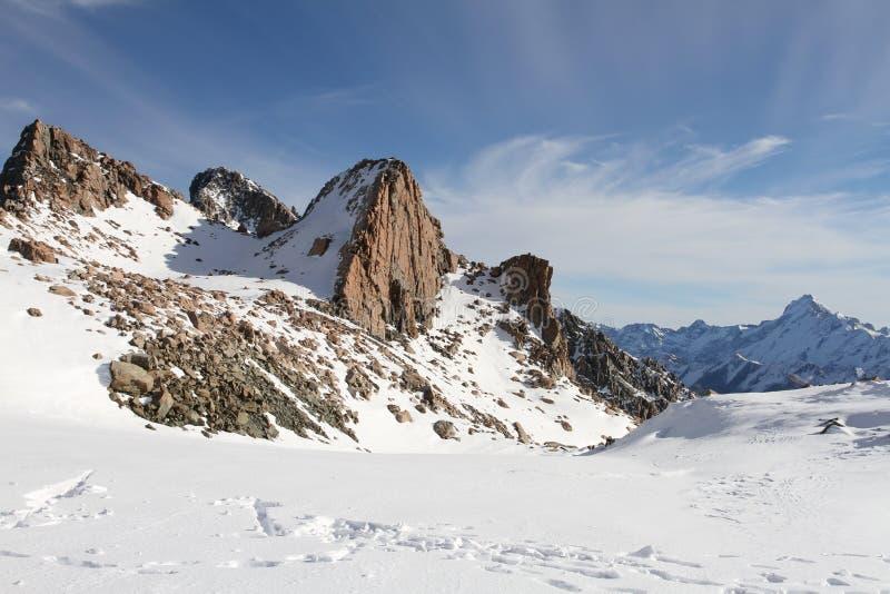 Śnieżny góra krajobraz, góra Kucbarski park narodowy, Południowy Nowa Zelandia fotografia stock