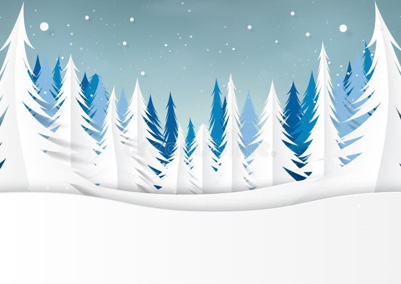 Śnieżny i sosnowy las na zima sezonu krajobrazu tle royalty ilustracja