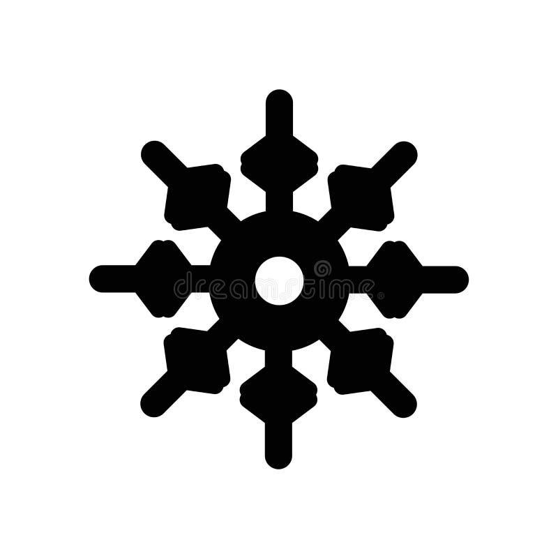 Śnieżny ikona wektor odizolowywający na białym tle, śniegu znak, ciemny piktogram ilustracja wektor