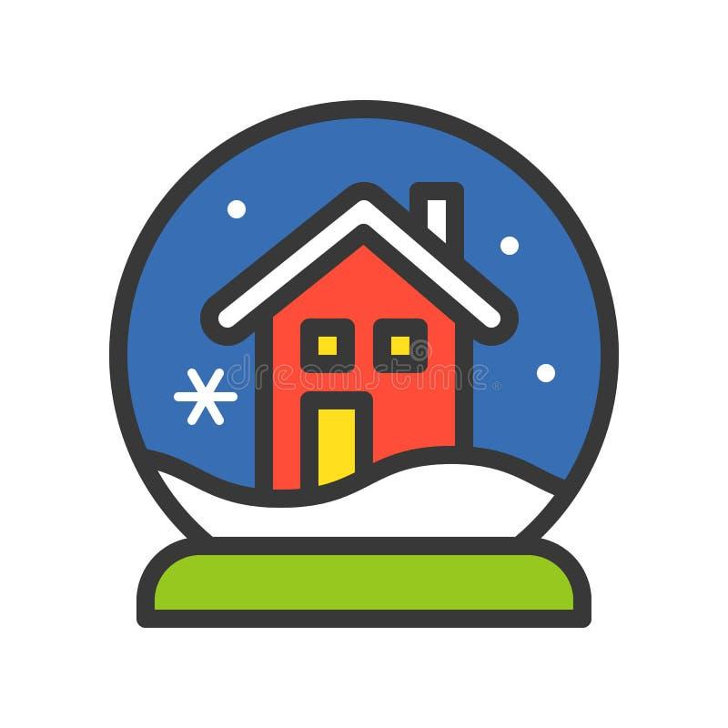 Śnieżny kula ziemska dom, Wesoło boże narodzenia odnosić sie ikona set, wypełniający outli ilustracji