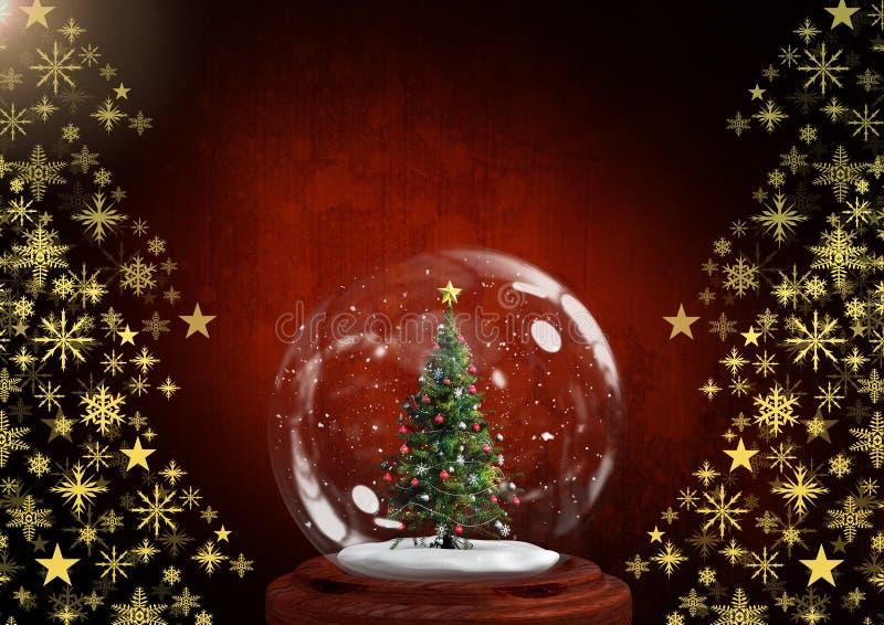Śnieżny kuli ziemskiej i płatka śniegu choinki wzoru kształt zdjęcia royalty free