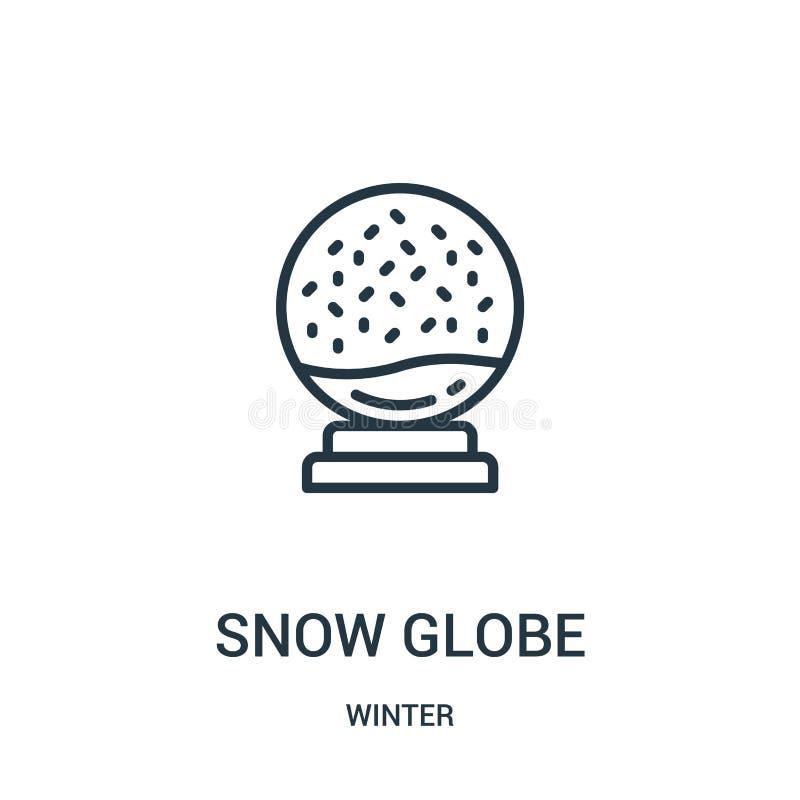 śnieżny kuli ziemskiej ikony wektor od zimy kolekcji Cienka kreskowa śnieżna kula ziemska konturu ikony wektoru ilustracja Liniow royalty ilustracja