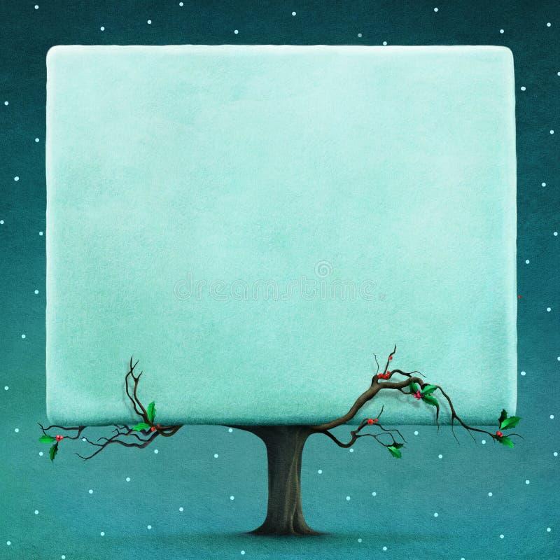 Śnieżny kwadratowy drzewo ilustracja wektor