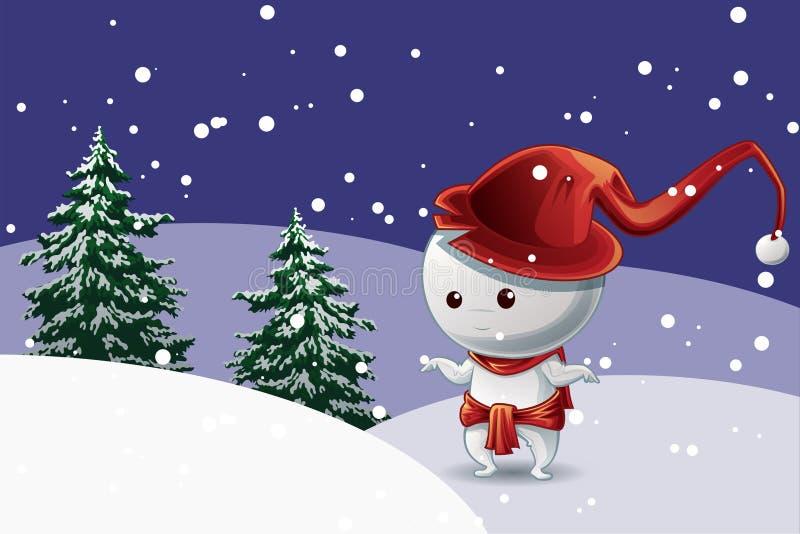Śnieżny mężczyzny charakter z czerwonym kapeluszem w Bożenarodzeniowym festiwalu na śniegu z drzewa tłem ilustracji