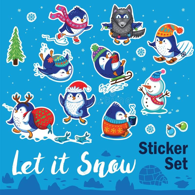 Śnieżny majcher ustawiający z pingwinami, bałwanem i płatkami śniegu kreskówki, royalty ilustracja