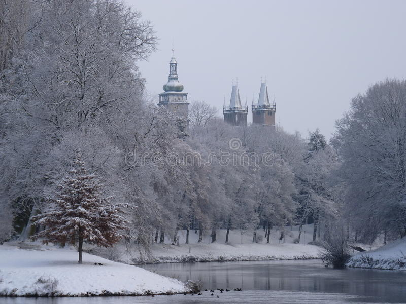 Śnieżny miasto fotografia stock