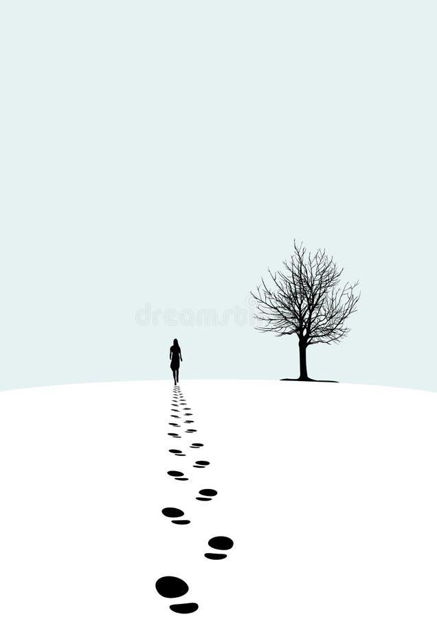 Śnieżny odcisk stopy ilustracji