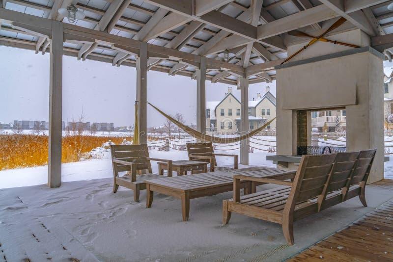 Śnieżny patio klub w brzasku Utah obrazy royalty free