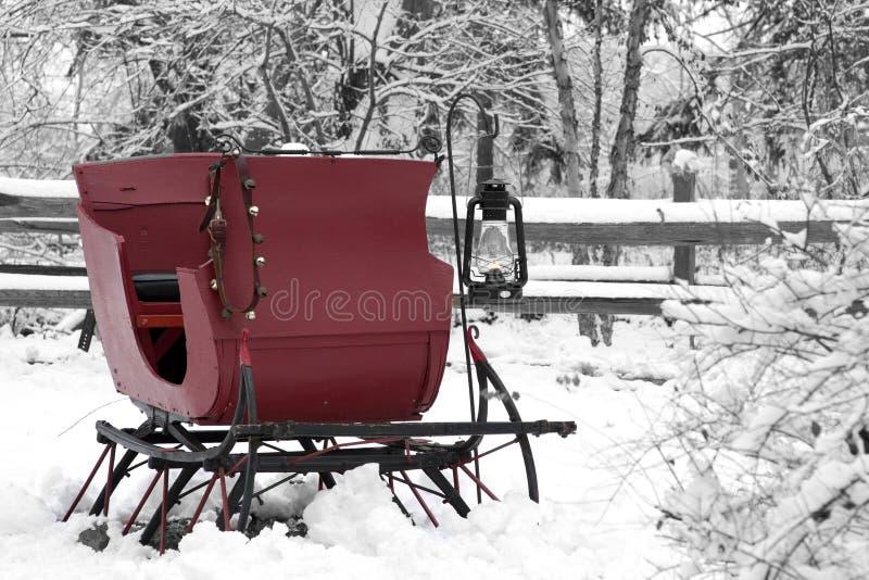 śnieżny sanie rocznik zdjęcia stock