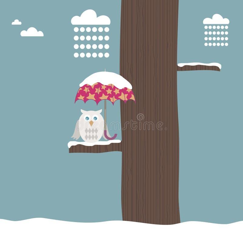 śnieżny sowa parasol ilustracja wektor