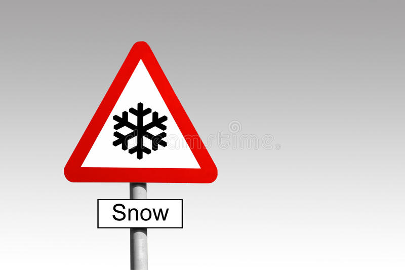 Śnieżny znak ostrzegawczy obrazy royalty free