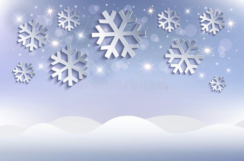 Śnieżnych płatków tła snowdrift Bożenarodzeniowy błękit ilustracji