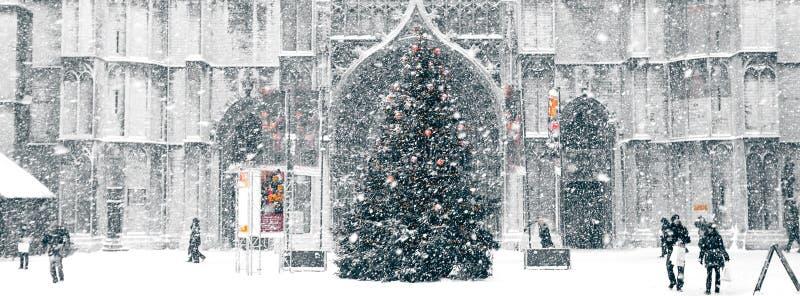 Śnieżyca w mieście zdjęcia royalty free